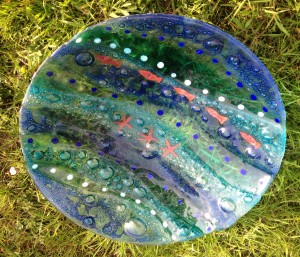 Fused Glass 'Coastal' Charger 400mm