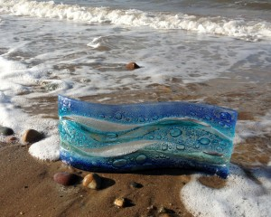 Fused Glass Free-standing 'Coastal' wave panel 150x400mm