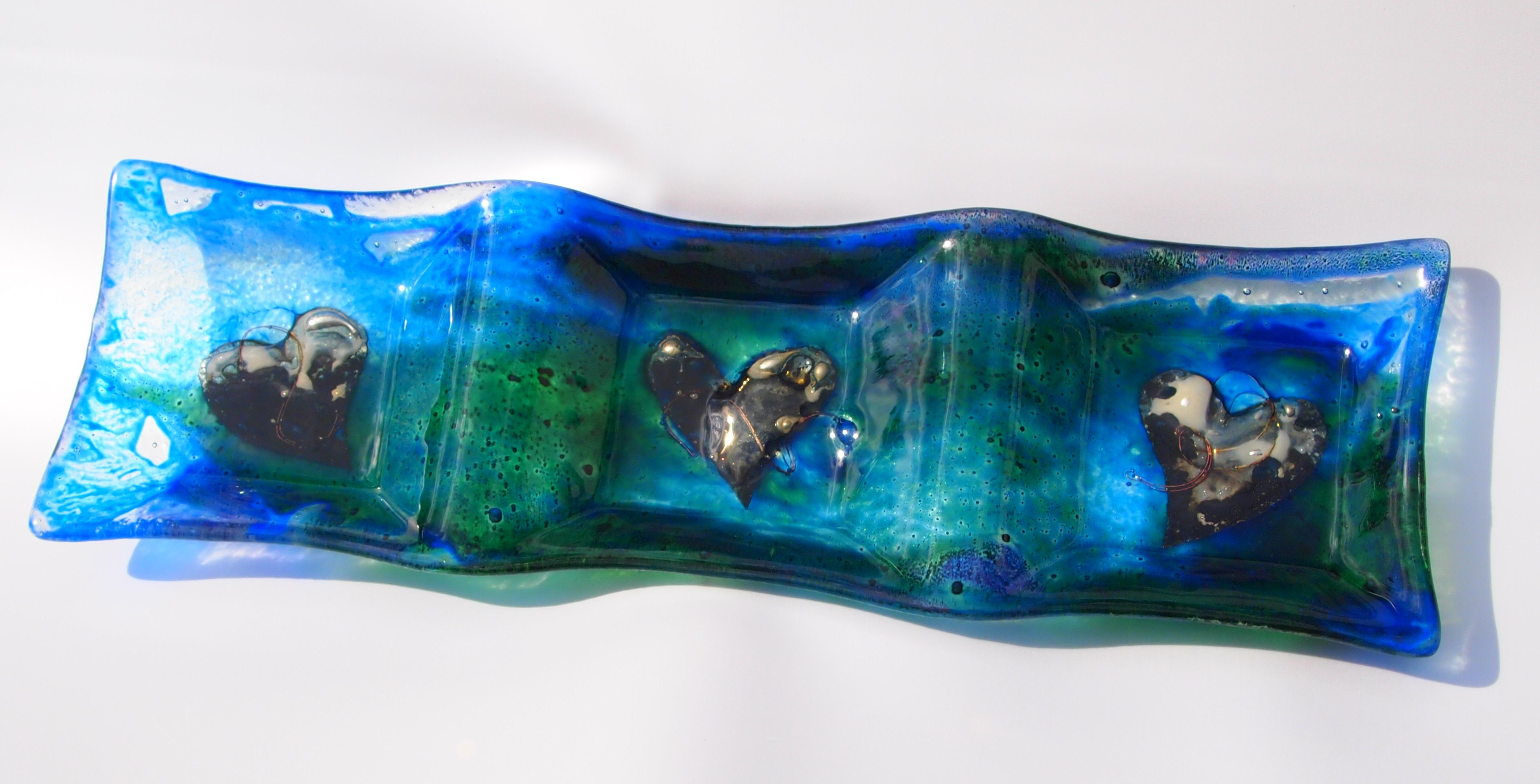 Fused Glass Nibbles dish with enamels and pewter 360x120mm