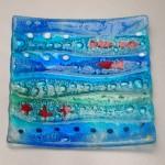 Fused Glass 'Coastal' platter 200x200mm