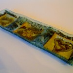 Fused Glass 'Nibbles tray' with Copper, Silver and Pewter inclusions