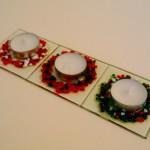 Festive Fused Glass Tea Light Holders 80x80mm