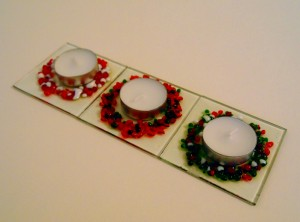 Festive Fused Glass Tea Light Holders 80x80mm