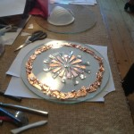 A beautiful piece of student work in progress using metal inclusions
