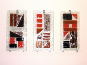 Brown geometric Tryptic each 600 x300 mm (2)