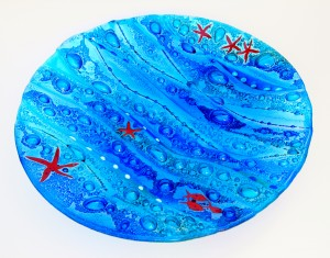 Fused Glass 'Coastal' Bowl 40cm