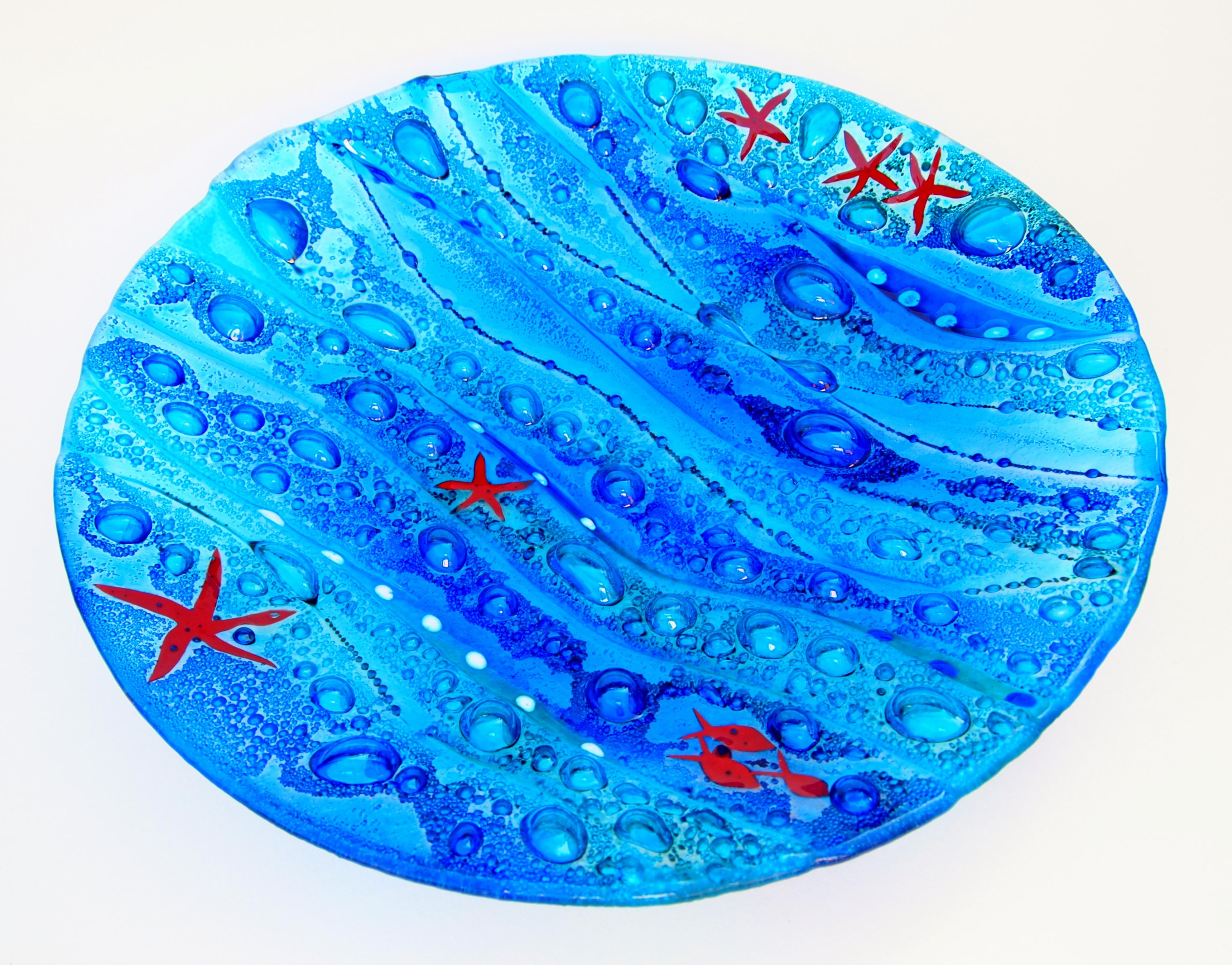 Fused Glass 'Coastal' Bowl 40cm