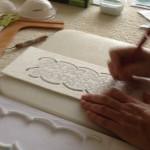 Celtic design created in fibre paper to give texture to finished piece