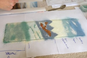 Landscape being created using a photographic image as inspiration