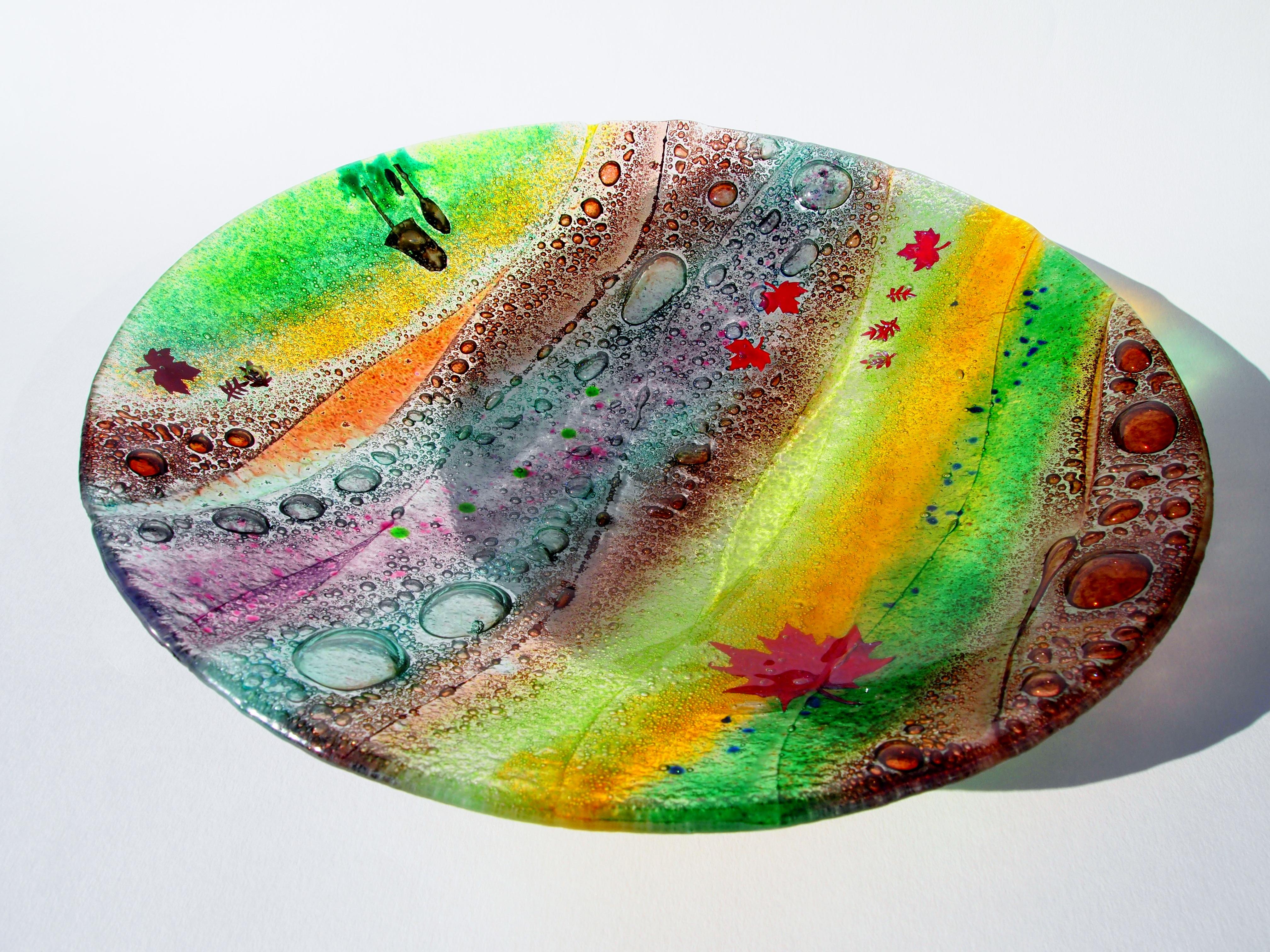 Fused Glass 'Woodland' Bowl 40cm