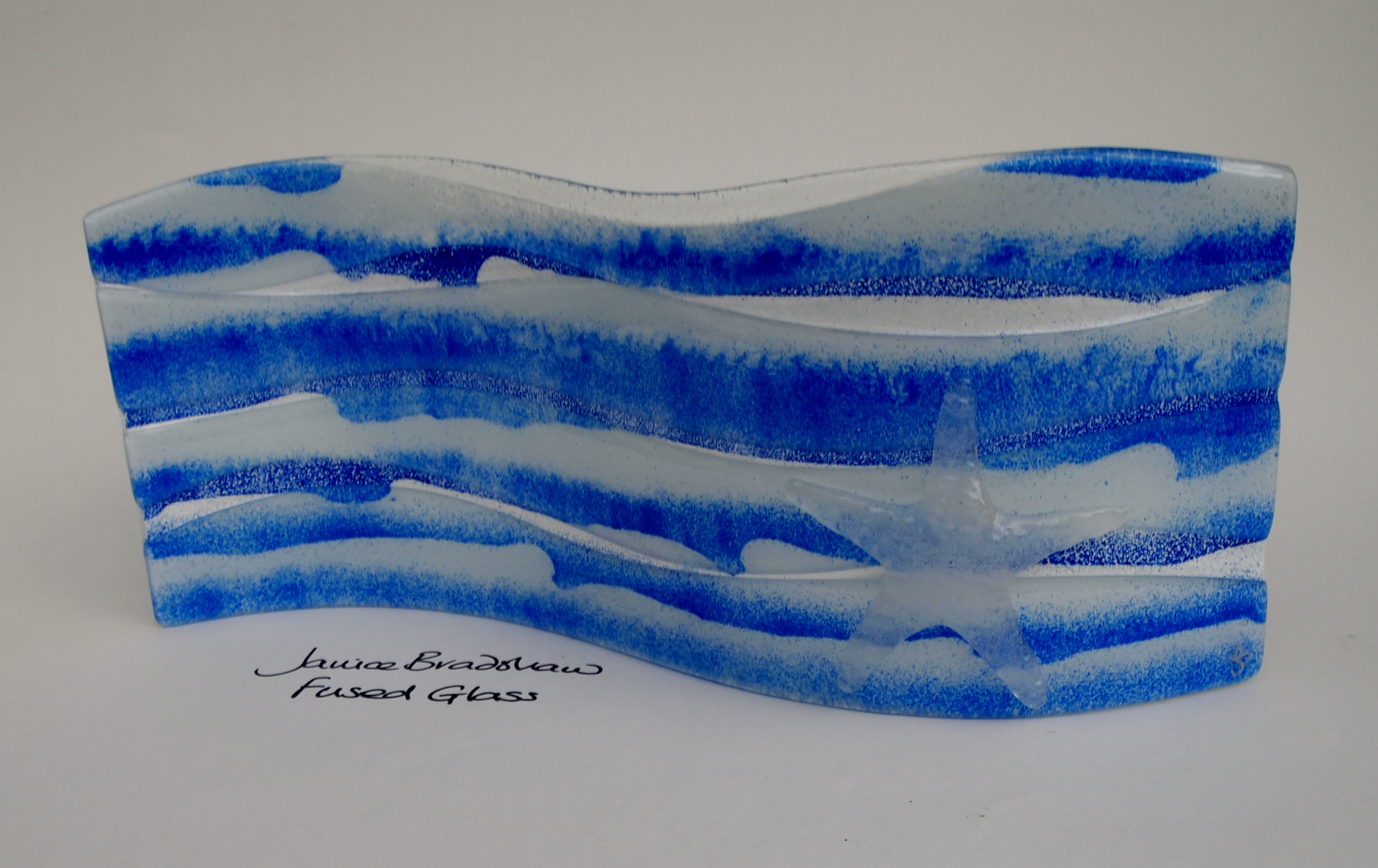 Fused Glass 'Coastal' Panel by Janice Bradshaw with large glass cast starfish 380x190mm