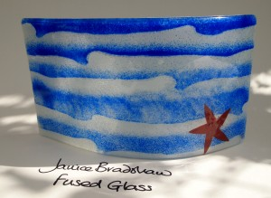 Fused Glass'Coastal' Panel by Janice Bradshaw with Copper inclusions