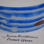 Fused Glass 'Coastal' Panel by Janice Bradshaw with Copper inclusions and cast glass shell
