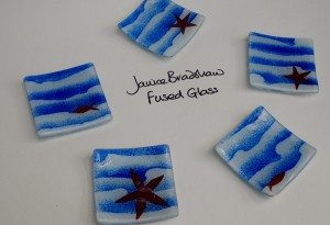Fused Glass 'Coastal' trinket Dishes by Janice Bradshaw 80x80mm