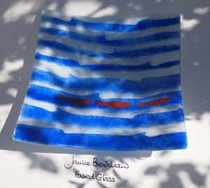 Fused Glass 'Coastal' Bowl with copper inclusions by Janice Bradshaw