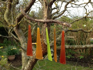 Fused Glass and drift wood wind chime in autumn colours by Janice Bradshaw