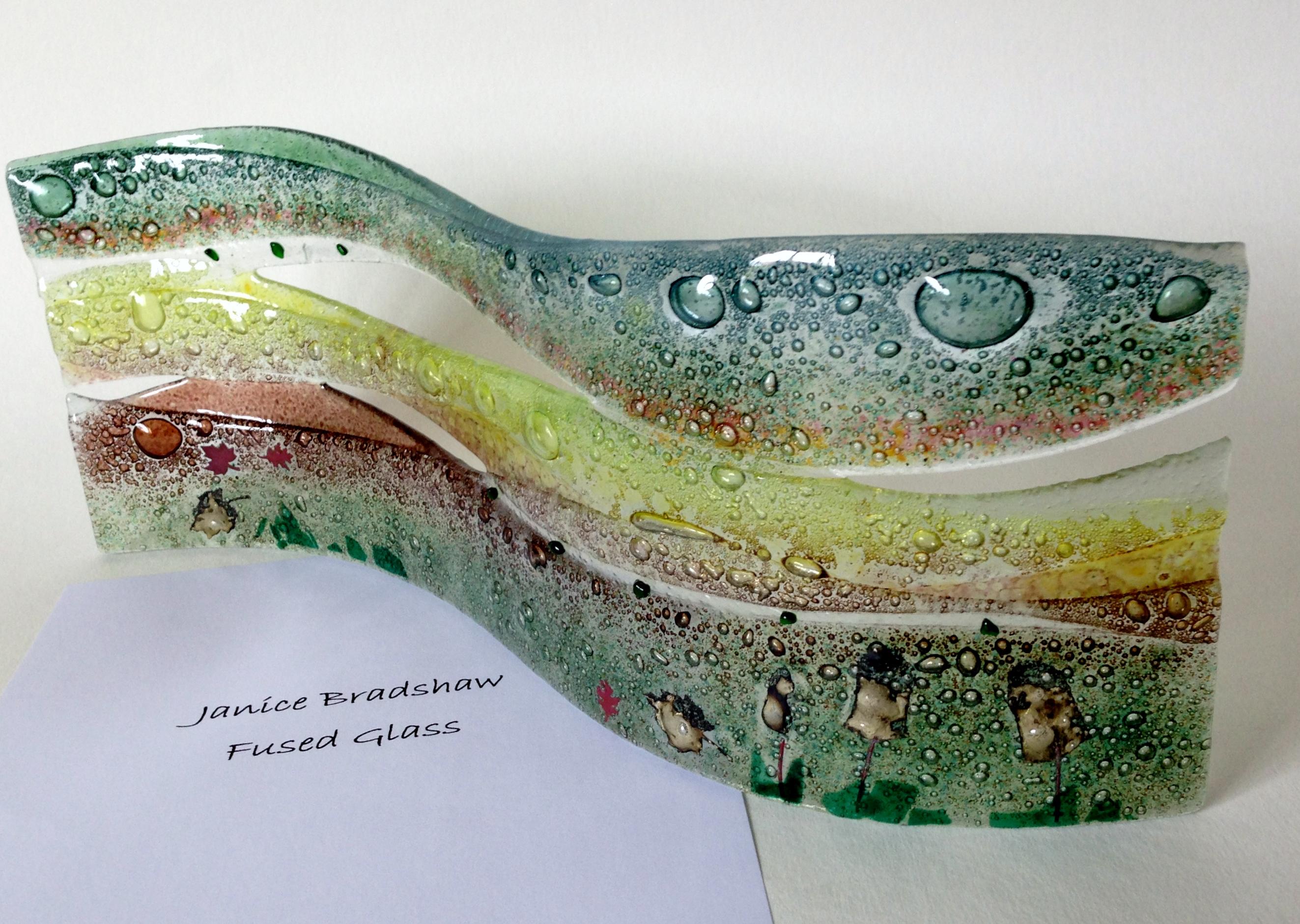 'Woodland' Fused glass panel by Janice Bradshaw 400x160mm