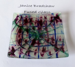 Fused Glass & Enamel plate by Janice Bradshaw 110x110mm