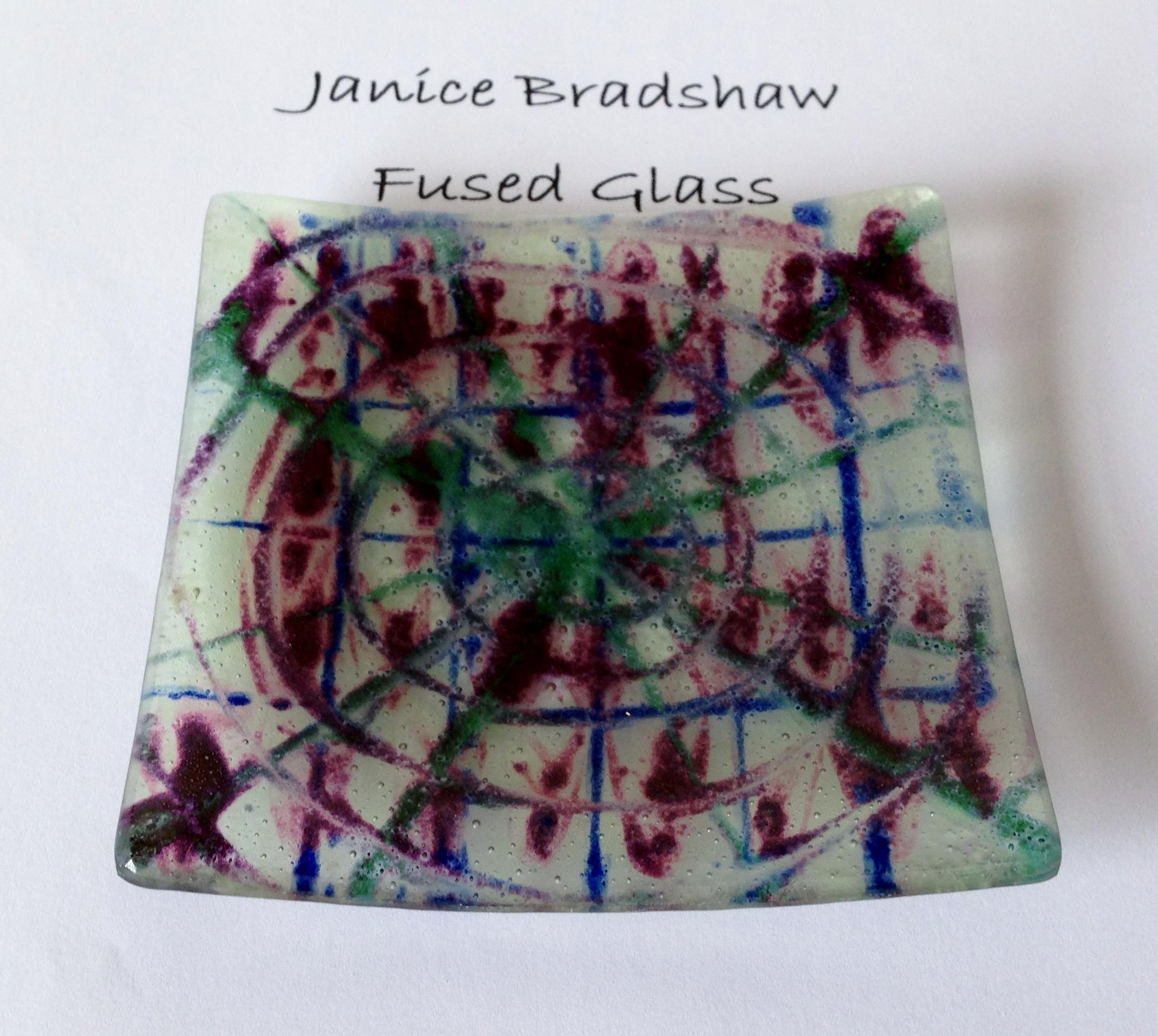 Fused Glass & Enamel plate by Janice Bradshaw 110x110mm