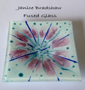 'Spring' Fused Glass & Enamel Tea Light Holder 110x110mm by Janice Bradshaw